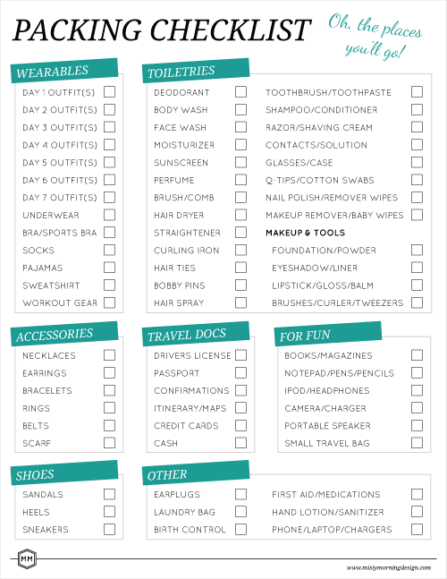 Packing List Free Printable Misty Morning Design